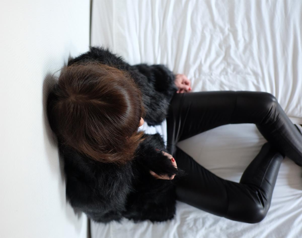 legging cuir noir