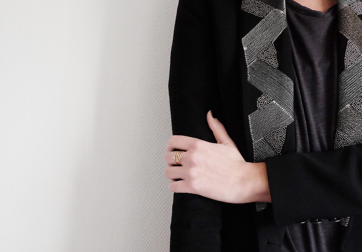 veste IKKS noire argentée
