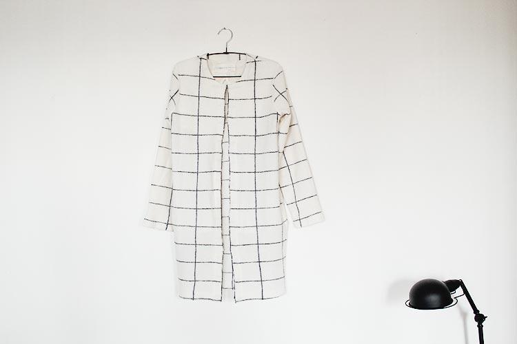 manteau carreaux blanc