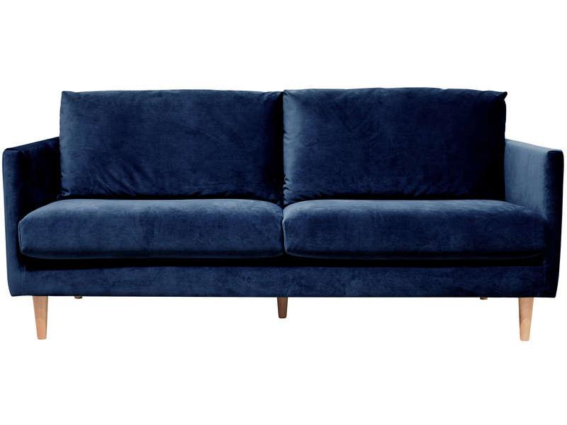 canapé velours bleu