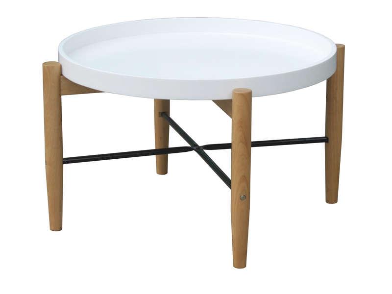 table basse blanche et bois