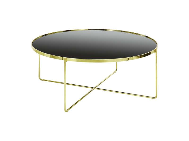 table basse noire et dorée